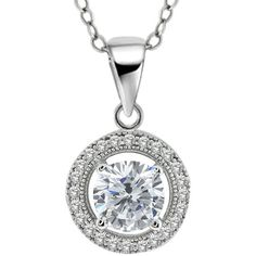 2.00 Ct Stunning Round 925 Sterling Silver CZ Pendant with 18' Chain (10MM) * For more information, visit now : Jewelry Necklaces