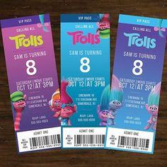 These are a huge hit for anything having a movie party! Cute ticket invites. #trollsbirthday #trollparty #trolls #tamaramastudios