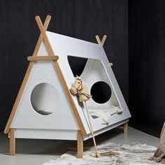 instrument TIPI kids cabin bed - camping tent bed x x Matt white finish. Superb quality, made in Netherlands . Cabin Beds For Kids, Pine Bed Frame, Tent Camping Beds, Teepee Bed, Kids Interior, Toddler Furniture, Cabin Tent, Bed Slats, Quartos