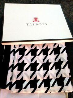 NIB New Talbot's 100% Silk Scarf Black White Checkered Houndstooth