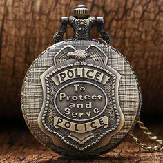 Retro Bronze POLICE Quartz Pocket Watch Pendant Necklace Chain Mens Womens P388