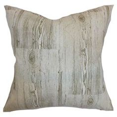 "Cotton-blend pillow with a wood-inspired motif. Made in the USA.  Product: PillowConstruction Material: CottonColor: GrayFeatures: Insert includedDimensions: 18"" x 18"""
