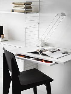 Scandinavian Shelves, Scandinavian Furniture, Scandinavian Design, White Shelves, Built In Shelves, Metal Shelves, String System, Modular Shelving, Work Desk