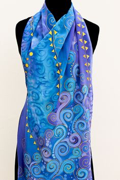 PURPLE BLUE gold silk SCARF Hand Painted long large silk shawl Klimt elegant unique violet wrap luxurious crepe de Chine scarves for her Silk Drapes, Blue Gold, Purple, Silk Art, Silk Shawl, Gold Silk, Lace Sheath Dress, Silk Painting, Silk Scarves