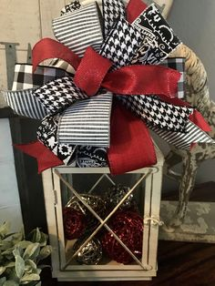 Excited to share the latest addition to my shop: Christmas Wreath Bow/ Lantern Bow/ Tree Topper/ Custom Handmade/ Garland Bow/ Black White Red/ Wreath Attachment/ Christmas Gift Bow Christmas Lanterns, Christmas Centerpieces, Outdoor Christmas, Rustic Christmas, Xmas Decorations, White Christmas Wreaths, Red Black White Christmas, Christmas Mantles, Victorian Christmas
