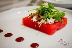 Watermelon Salad at Ka'ana Kitchen with feta, horseradish, arugula, candied walnuts. © 2014 Sugar   Shake
