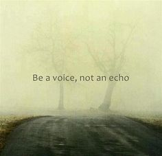 Be a voice, not an echo. Quote.