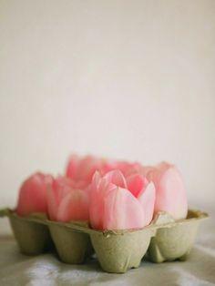 Aseta munakennoihin suklaamunan sisuksen muovikuori ja vettä. Aseta kukka.