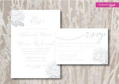 Floral wedding invitation-Digital wedding invitation-Printable wedding invitation set-Custom wedding invitation-vintage rose invitation set- by Linvit on Etsy