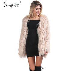 Elegant Faux Fur Coat Fluffy Chic Winter Coat Jacket - CELEBRITYSTYLEFASHION.COM.AU - 1