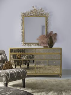 The Bewitch Nine-Drawer Mirrored Dresser and Twiggy Mirror in the Cynthia Rowley for Hooker Furniture collection.