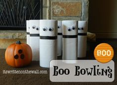 Pin for Later: 17 Festive (and Fabulous!) DIY Kids' Halloween Party Games Boo Bowling Put those extra rolls of paper towels to use and get those kids bowling. See more Halloween ghost bowling. Halloween Carnival Games, Classroom Halloween Party, Fall Carnival, Halloween Birthday, Halloween Boo, Halloween Treats, Cheap Halloween, Carnival Ideas, Halloween Decorations