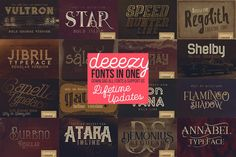 25 fonts in this megabundle - We'll update it weekly with all new fonts from http://deeezy.com/ so please re-download this zip file with new fonts every week! - you have lifetime updates with this purchase ;)