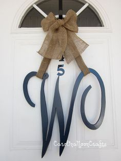 Single Letter Monogram Wooden Door Decor, SCRIPT font monogram, monogram wreath, 18 inches by CarolinaMoonCrafts