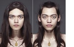 """Nobody's face is perfectly symmetrical correct? Most people think they have """"Best Side"""" to their face. Julian Wolkenstein created a series Perfectly Symmetrical Face, Artistic Photography, Portrait Photography, Conceptual Photography, Facial Proportions, Fancy, Portraits, Photo Manipulation, Hair Beauty"""