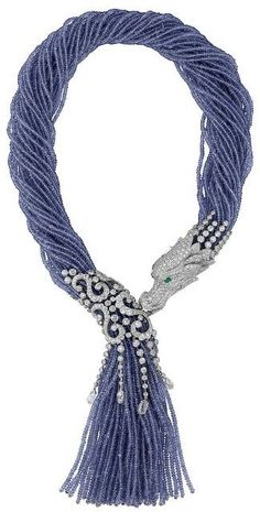 Cartier, Cartier Dragon-motif necklace. Platinum, tanzanite beads, diamonds.