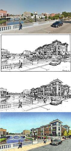 CMAP.  Aurora, IL Urban Design Drawing Process.  Site Photo, Prelim Study, Final Ink, Final Color.  Charrette drawings by Bruce Bondy, Bondy Studio