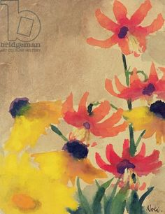 Red Bud and Rudbeckia (w/c on paper) / Emil Nolde