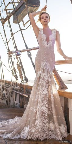 lian rokman 2017 bridal sleeveless deep v neck full embellishment elegant fit and flare wedding dress open back chapel train (topaz) mv