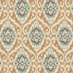 Tan & Aqua Ikat Medallion Fabric 18in