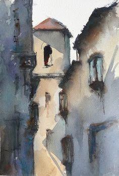 "Daily Paintworks - ""Toledo street"" - Original Fine Art for Sale - © Fernando Pena Watercolor City, Watercolor Artists, Watercolor Landscape, Watercolor And Ink, Watercolor Paintings, Landscape Drawings, Landscape Art, Kerala Mural Painting, Urban Painting"