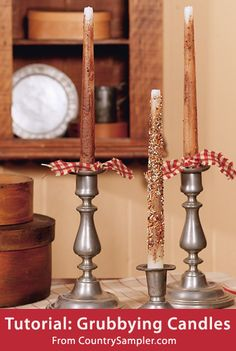 FREE Tutorial: Grubbying Candles, featured in Country Sampler magazine. Click on the image for the tutorial. Go here to browse more free craft patterns from Country Sampler: http://www.countrysampler.com/decorating/project-downloads