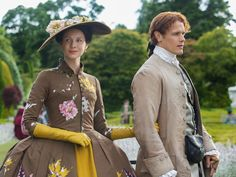 """Given that """"Outlander"""" is a feast for the senses, why not dwell on a single image from season two? One day while visiting the gardens of Versailles, Claire Fraser leans over a floral display, weari…"""