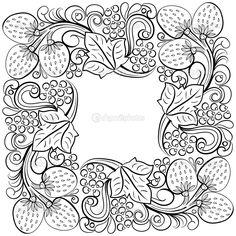 Рамка с местом для текста в стиле Хохлома — стоковая иллюстрация #70823823
