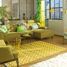 Theko 850 Geometric Yellow Smooth Comfort Rug by Tom Tailor Tropical Decor, Colorful Decor, Nordic Chic, Cool Color Palette, Textiles, Natural Rug, Outdoor Furniture Sets, Outdoor Decor, Living Spaces