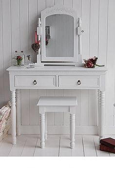 White dressing table with storage from The new England bedroom furniture. Ideas to decorate your white bedroom. Simple white bedroom furniture for fast delivery from The White Lighthouse. Dressing Table New, Dressing Table Antique, Dressing Table With Drawers, White Dressing Tables, Dressing Mirror, Cream Bedroom Furniture, White Furniture, Bathroom Furniture, Furniture Design