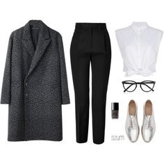 A fashion look from October 2013 featuring white crop top, wool coat and high waisted pants. Browse and shop related looks.