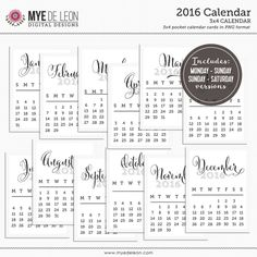 2016 Free Printable Calendars for Project Life