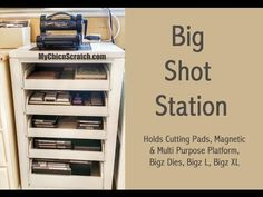 Big Shot Station--Martha Steward craft cabinet with pull out drawers from Home Decorators Scrapbook Paper Storage, Craft Paper Storage, Craft Organization, Organizing Crafts, Scrapbook Rooms, Scrapbooking, Kids Storage Bins, Diy Toy Storage, Storage Ideas