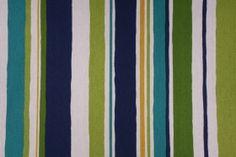 Robert Allen Stripescape Printed Cotton Drapery Fabric in Island Sea