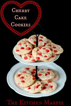 Cherry Cake Cookies - (cheater cookies with cake mix!)  The Kitchen Magpie #recipes #Valentines