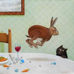 'Here Her Hare' - Oil painting by Vicky Mount. °