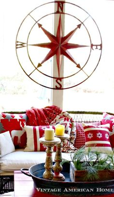 """41"""" Round Metal Compass Wall Décor, Red #DE6069 for your fixer upper porch for sale $150"""