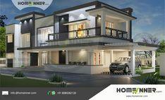 Contemporary Kerala house plan 5160 sq ft 5 bedroom - Indian Home Design,House plans,Construction,Interior Design,Modular Kitchen Home Modern, Contemporary House Plans, Modern House Plans, Modern Houses, Modern Luxury, Modern Contemporary, Modern Asian, Flat Roof House, Facade House
