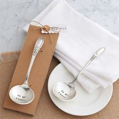 """Pewter finish ladle arrives on rolled corrugated card and features """"OH MY GRAVY""""…"""