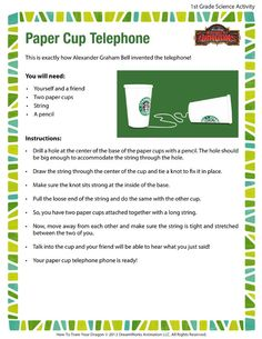 Paper Cup Telephone - Printable Science Activities For inventor week in LA 5th Grade Social Studies, Social Studies Activities, Science Activities, Science Experiments, Primary Teaching, Teaching Science, Teaching History, Teaching Ideas, Alexander Graham Bell