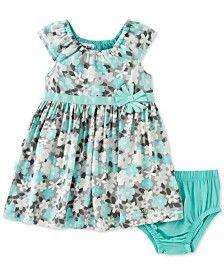 Calvin Klein Baby Girls' 2-Pc. Floral-Print Dress & Diaper Cover Set