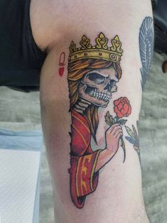 Queen of hearts done by Shawn Ramsey in Medina, NY Special Tattoos, R Tattoo, Professional Tattoo, Queen Of Hearts, Skull, Hate, Ideas, Skulls, Thoughts