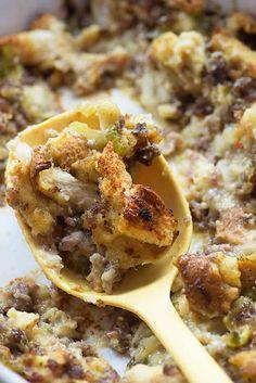 Sausage Dressing Best Thanksgiving Recipes, Fall Recipes, Holiday Recipes, Thanksgiving Stuffing, Thanksgiving 2016, Thanksgiving Sides, Stuffing Recipes, Sausage Recipes, Sausage Stuffing