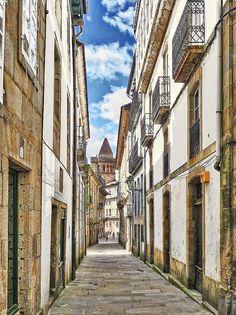 Santiago de Compostela alley, Galicia, Spain