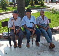 Faces of Nerja- Elderly gentlemen on their bench at Orange tree Square