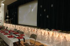 Polar Express Party. Love the icicles made out of tissue tablecloths ...