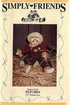 """14"""" Scarecrow Doll """"Patches"""" Sewing Pattern from Simply Friends by CarlasHope on Etsy"""
