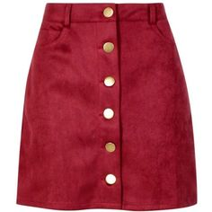 Boohoo Laura Bonded Suede Button Through Mini Skirt (77 RON) ❤ liked on Polyvore featuring skirts, mini skirts, bottoms, red, saias, short wrap skirt, red wrap skirt, jersey mini skirt, boohoo mini skirt and red jersey