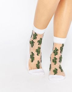 Image 1 of ASOS Sheer Cactus Ankle Socks