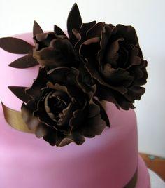 chocolate and pink wedding cake